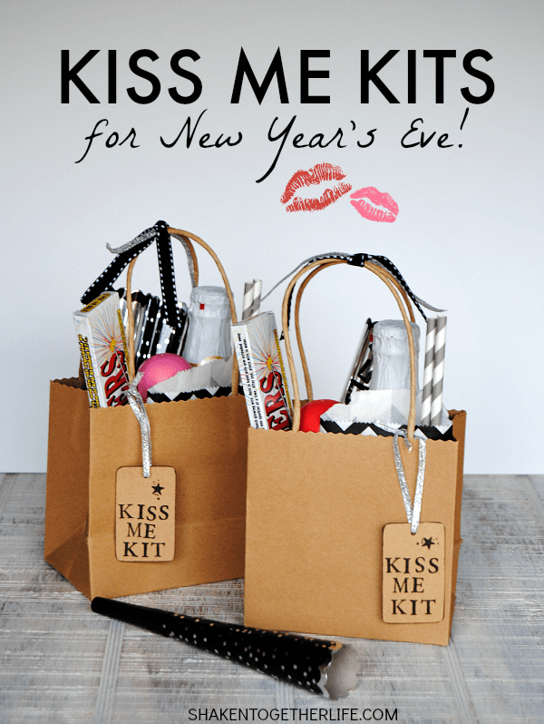diy adult party favors kiss me bags with sparklers, champagne and gum