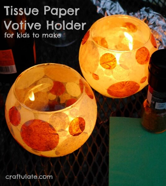 how to make a glass votive holder covered in tissue paper