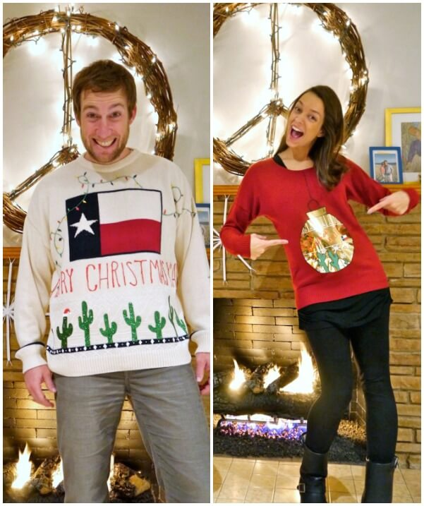 Couple with individualized themes for their ugly Christmas sweaters.