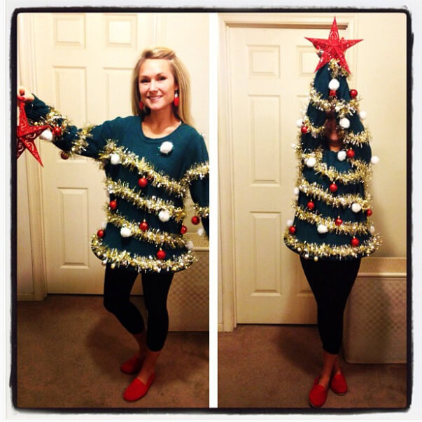 Ugly Christmas sweater that turns into a full Christmas tree with a star on top.
