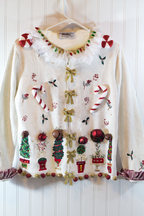 This ugly Christmas sweater has some symmetrical style.