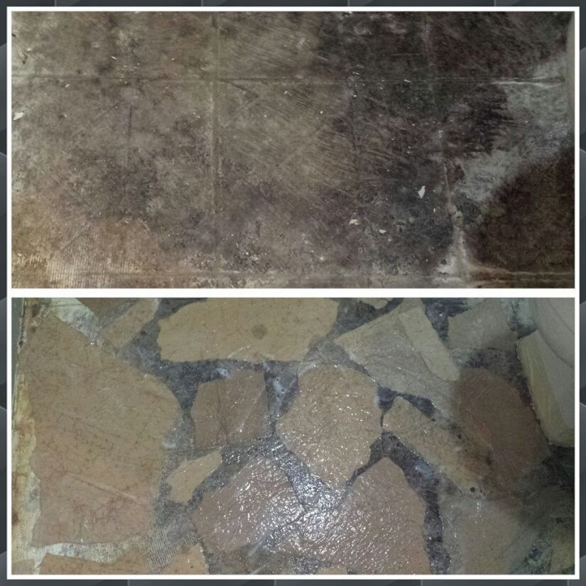two room comparison of brown paper bag flooring decoupage process
