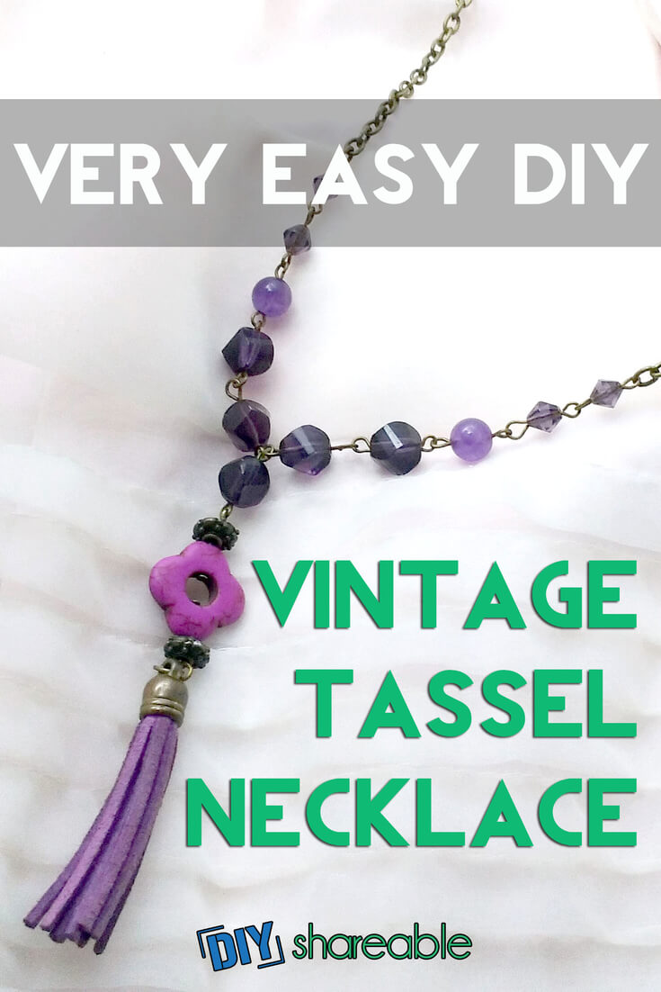 Learn how to make this easy, inexpensive tassel DIY necklace in about an hour with this complete tutorial. This vintage piece can go with most outfits and can also make a great gift!