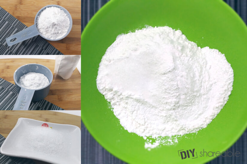 mixing baking powder and cream of tartar for a bath bomb