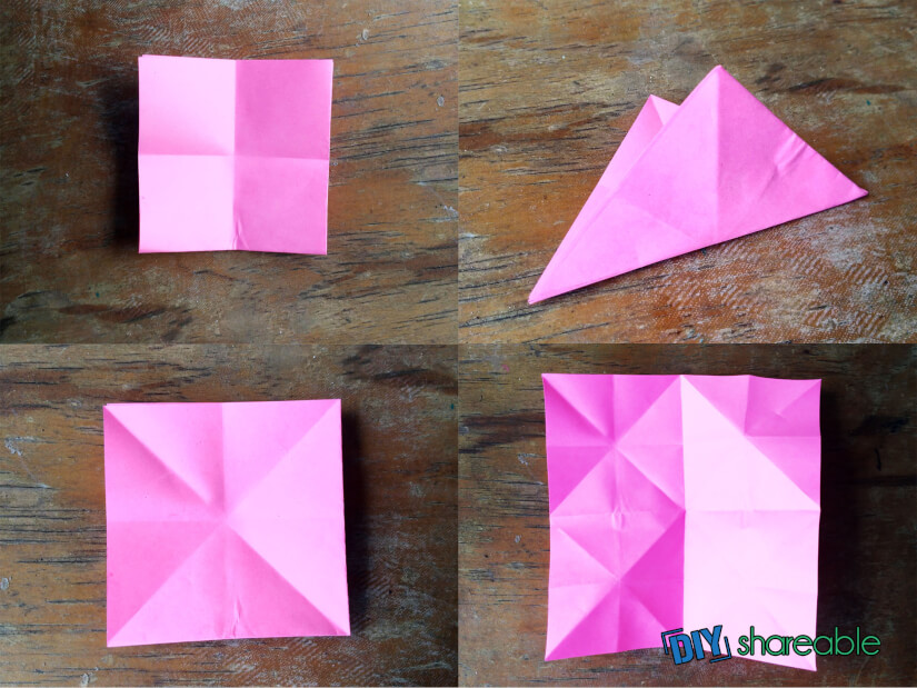 Fold creases to begin the creation of a fish