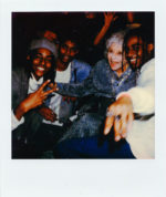 Party polaroids of Tyga, Pat Tracey, and Kelsey Lu's blue eyebrows at the Lanvin Soho opening