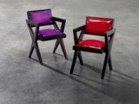 Berluti gives original Pierre Jeanneret pieces a jewel-toned rejuvenation