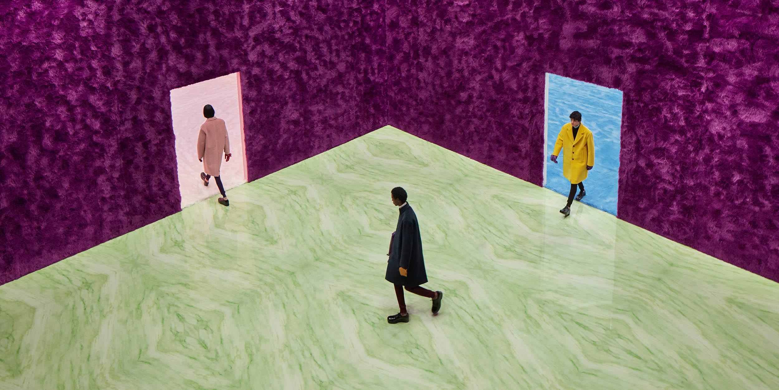 Rooms of one's own: Inside Prada's textural menswear collection