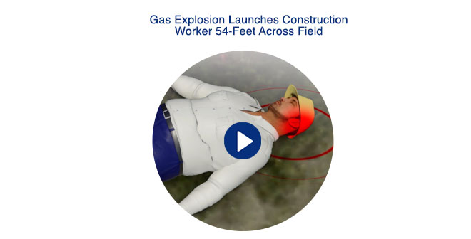 Gas Explosion Launches Construction Worker 54-feet Across Field