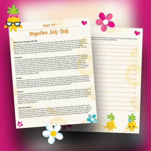 30 Positivity And Self-Growth Lessons For Girl Power Halo of Happiness – Day 17 Printable Journal Pages - Watch Out for Negative Self Talk