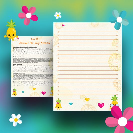 30 Positivity And Self-Growth Lessons For Girl Power Halo of Happiness – Day 23 Printable Journal Pages - Journaling as a Tool for Self Growth and Positive Thinking