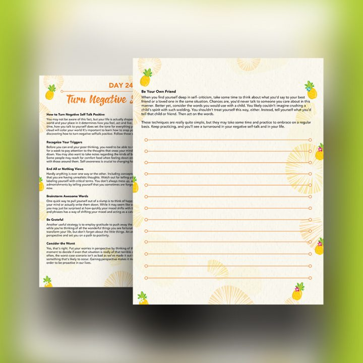 30 Positivity And Self-Growth Lessons For Girl Power Halo of Happiness – Day 24 Printable Journal Pages - How to Turn Negative Self Talk Positive