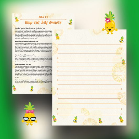 30 Positivity And Self-Growth Lessons For Girl Power Halo of Happiness – Day 25 Printable Journal Pages - Map Out Your Self Growth Goals for the Coming Year