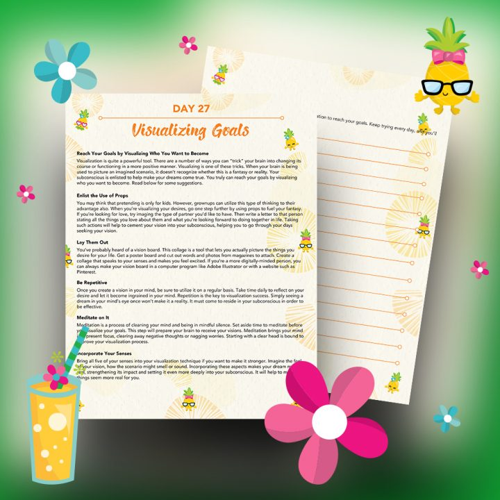 30 Positivity And Self-Growth Lessons For Girl Power Halo of Happiness – Day 27 Printable Journal Pages - Reach Your Goals by Visualizing What Kind Of Girl You Want to Be