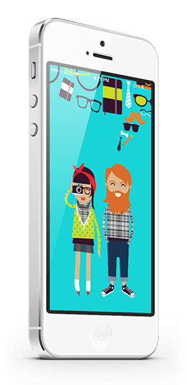 Illustrated man and woman on mobile phone.