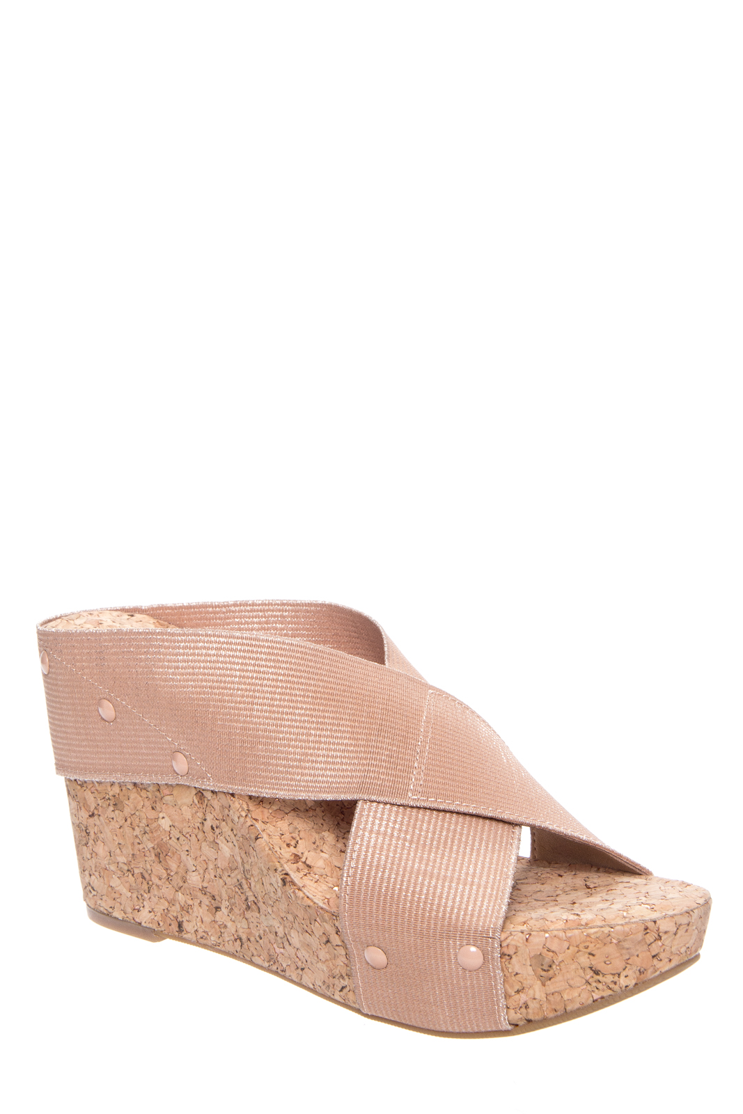 Lucky Brand Miller2 Slip On Wedge Sandals - Blush / Champagne