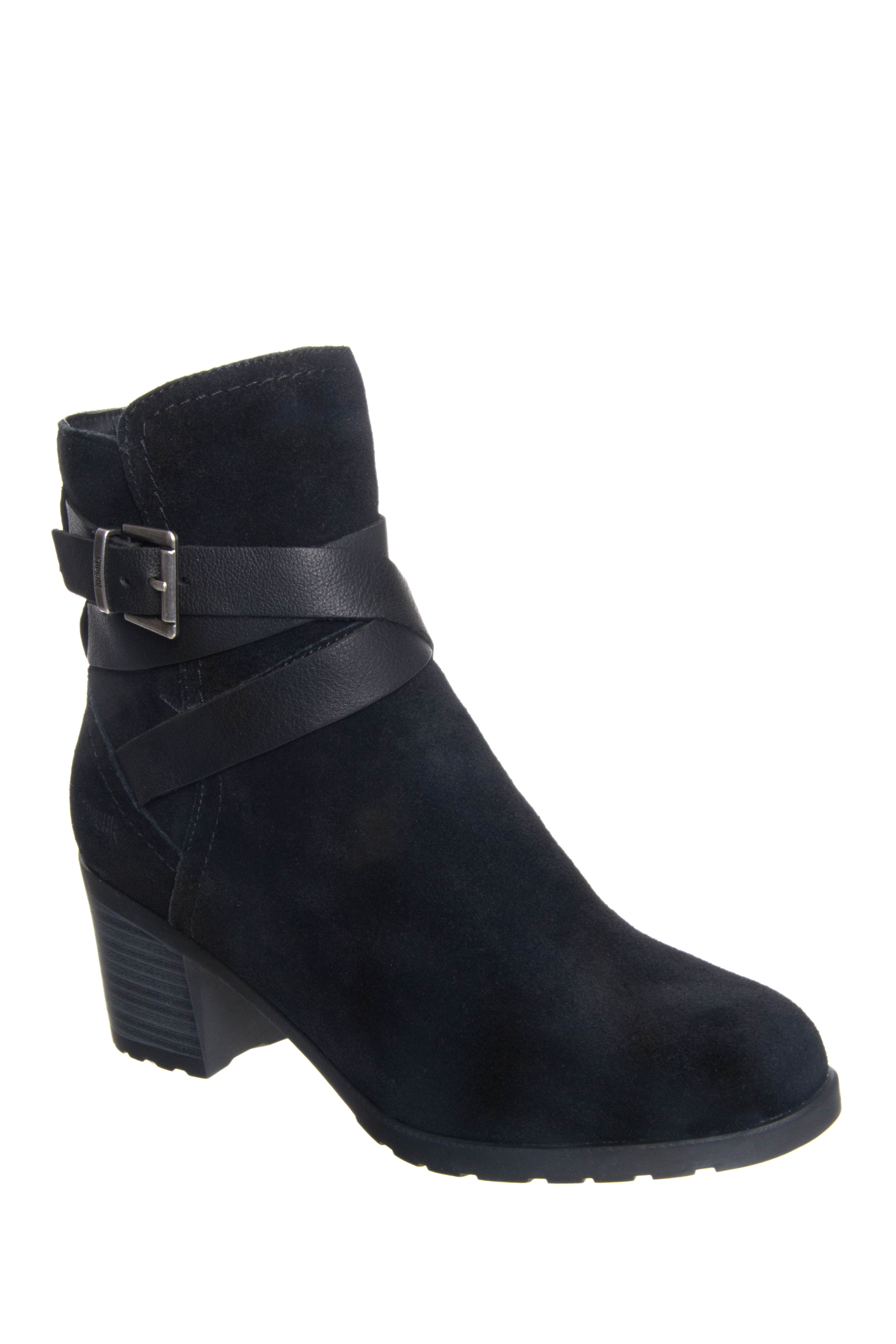 Cougar Arvida Buckle Wrap Zip Booties - Black Suede