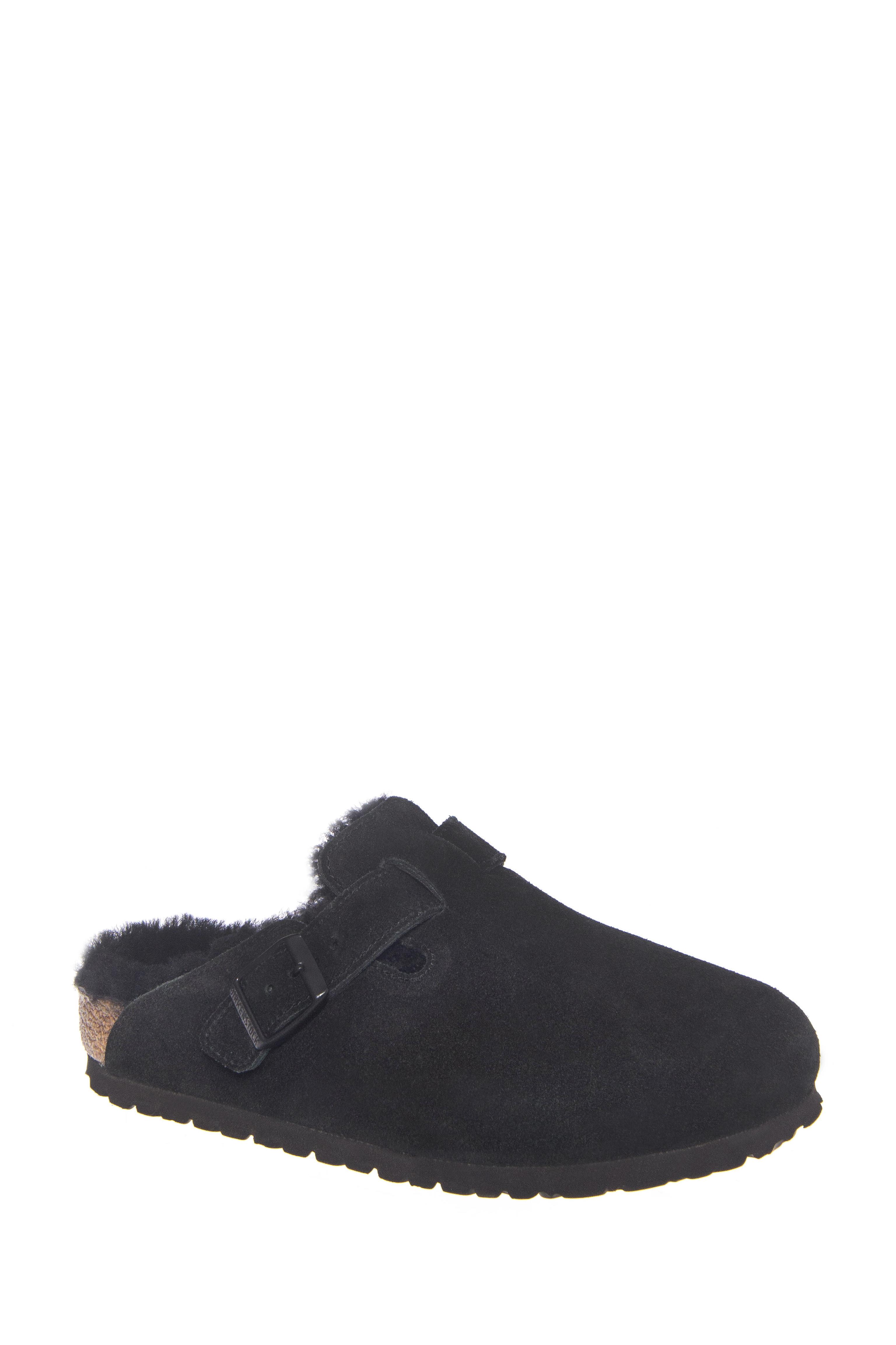 Birkenstock Boston Shearling Fur Flats Slide - Black