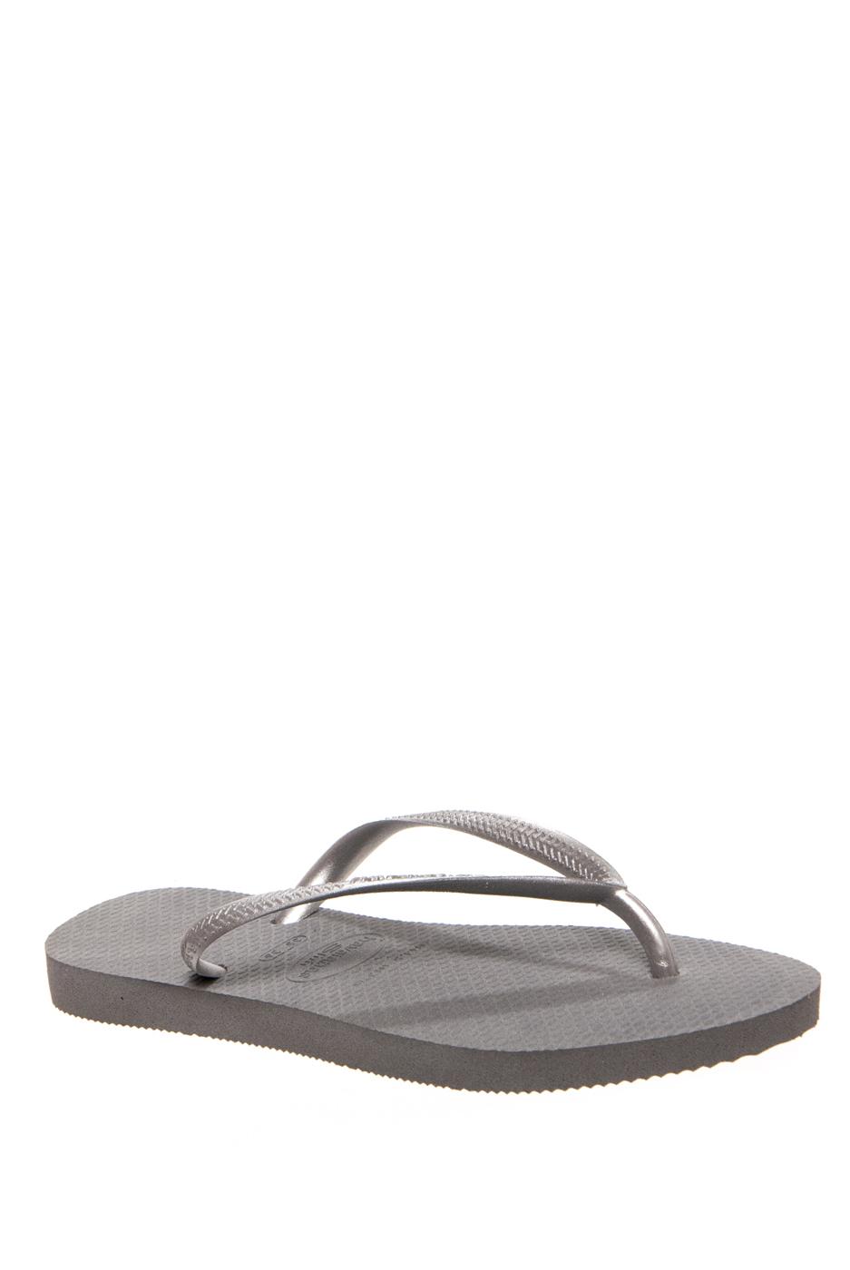 Havaianas Slim Solid Flip Flops - Grey / Silver