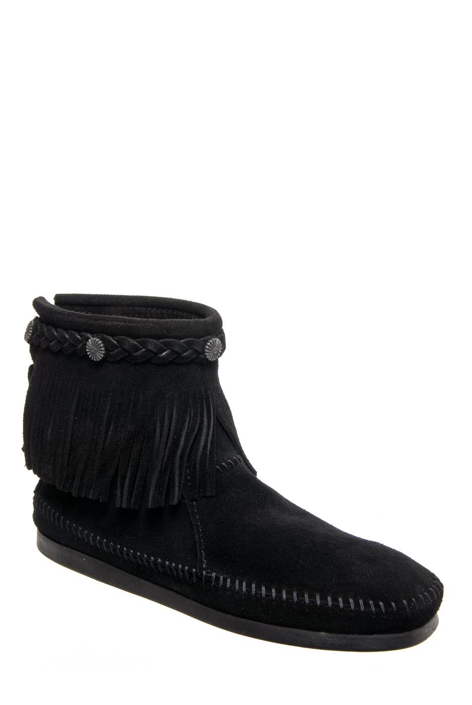 Minnetonka Fringed Ankle Boots - Black