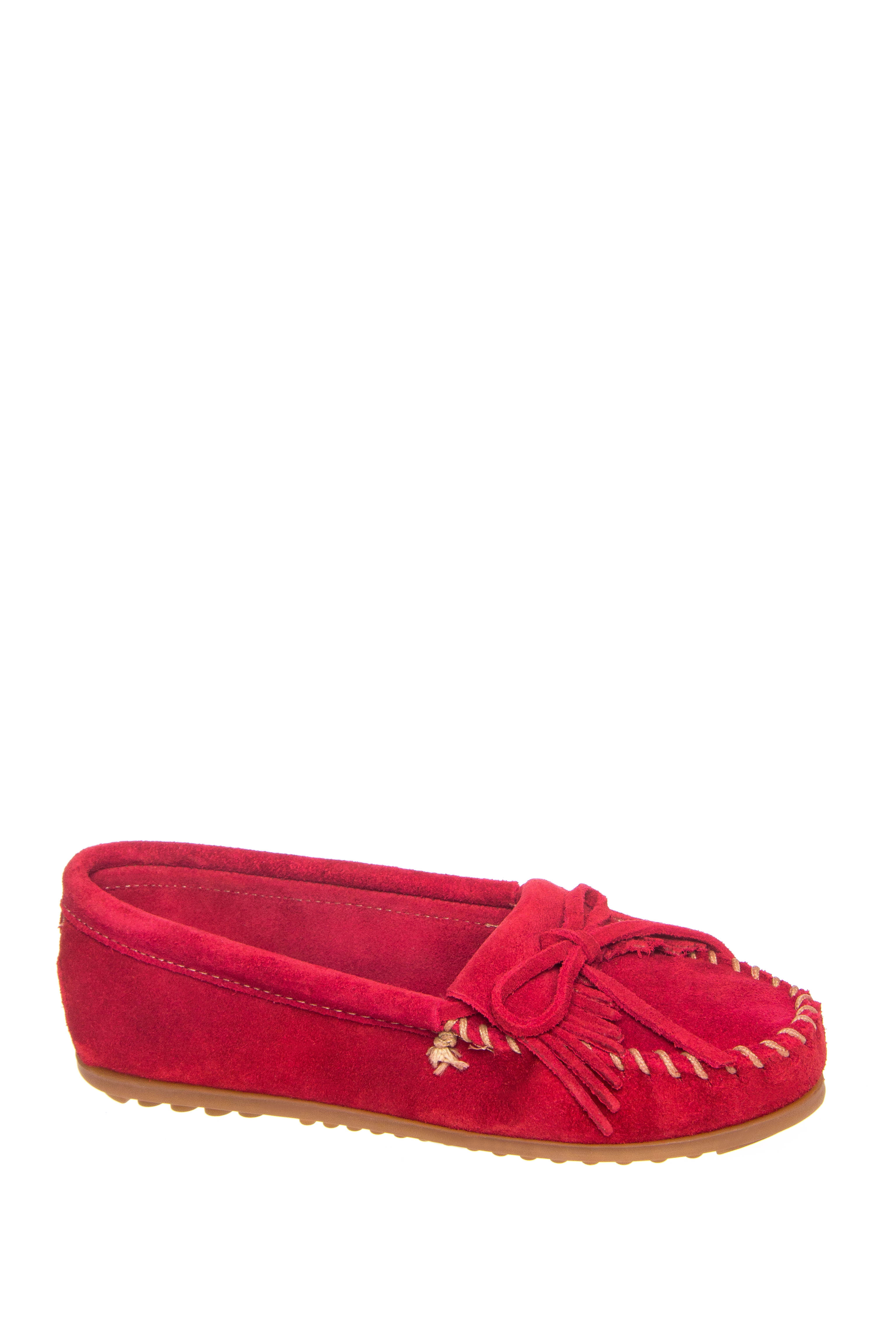Minnetonka Kilty Suede Moccasins - Red