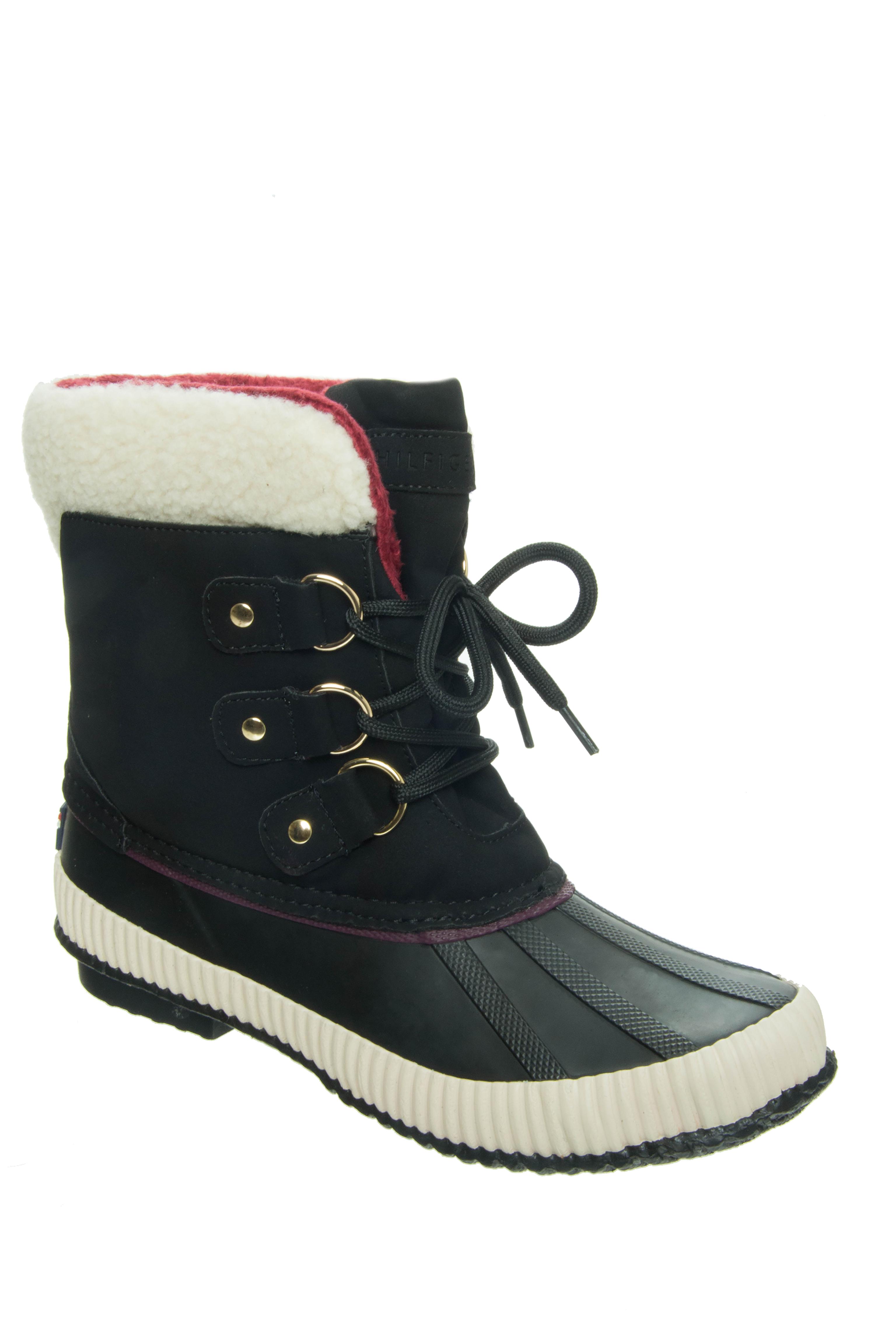 Tommy Hilfiger Ebonie Low Heel Duck Snow Boots - Black Multi