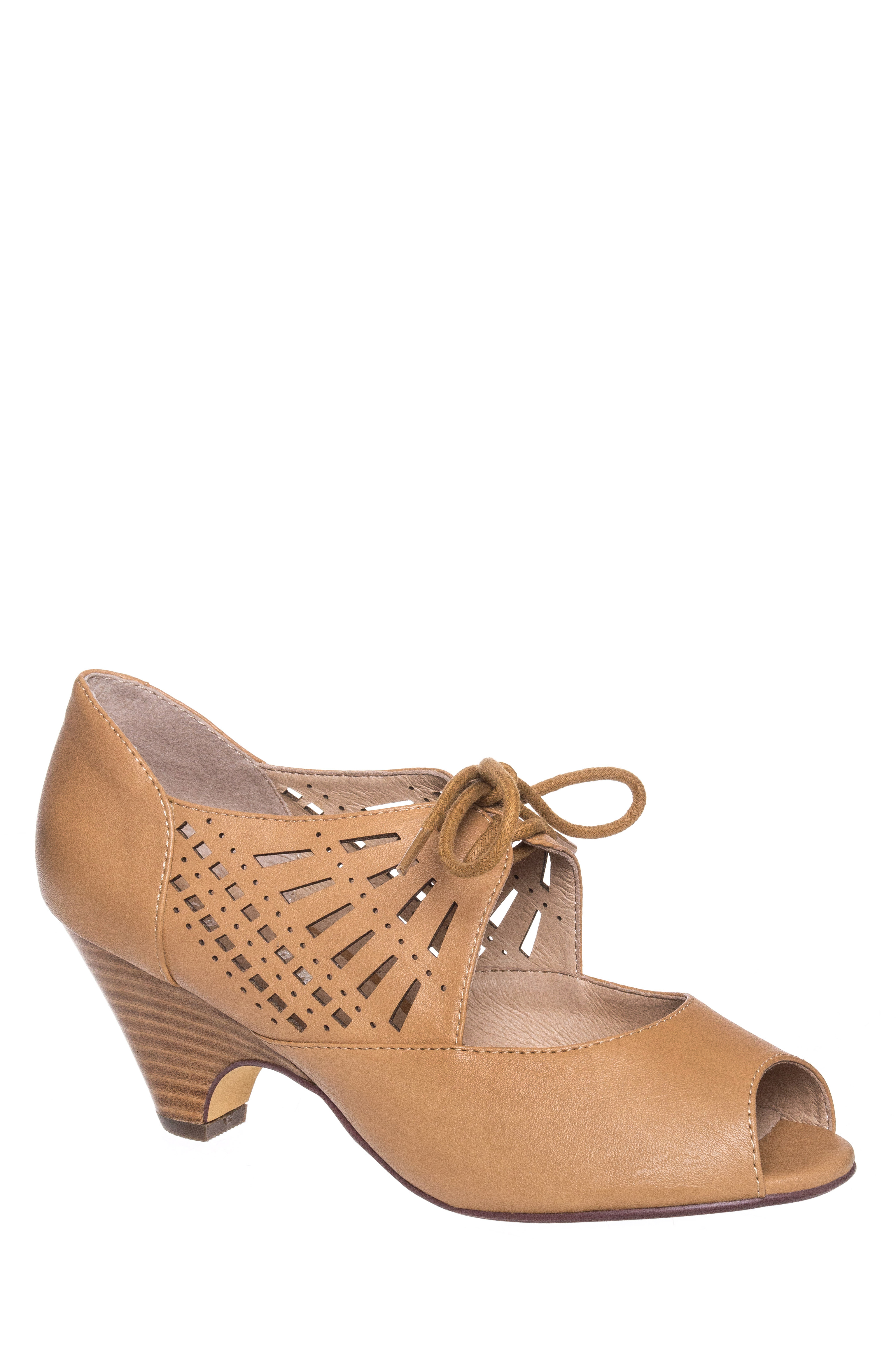1930s Style Shoes Chelsea Crew Javits Low Heel Pump - Nude $69.99 AT vintagedancer.com