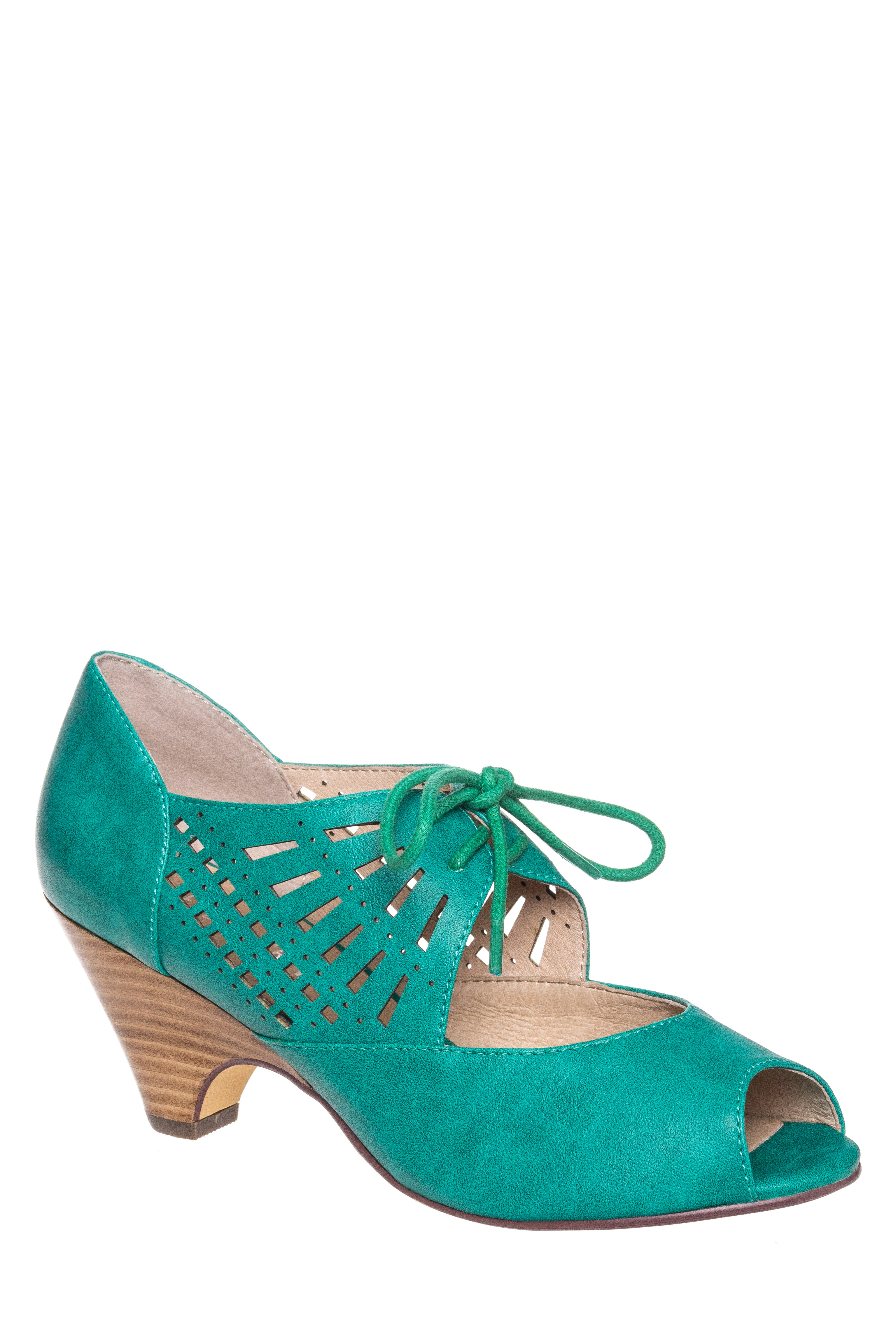 1960s Style Shoes Chelsea Crew Javits Low Heel Pump - Teal $69.99 AT vintagedancer.com