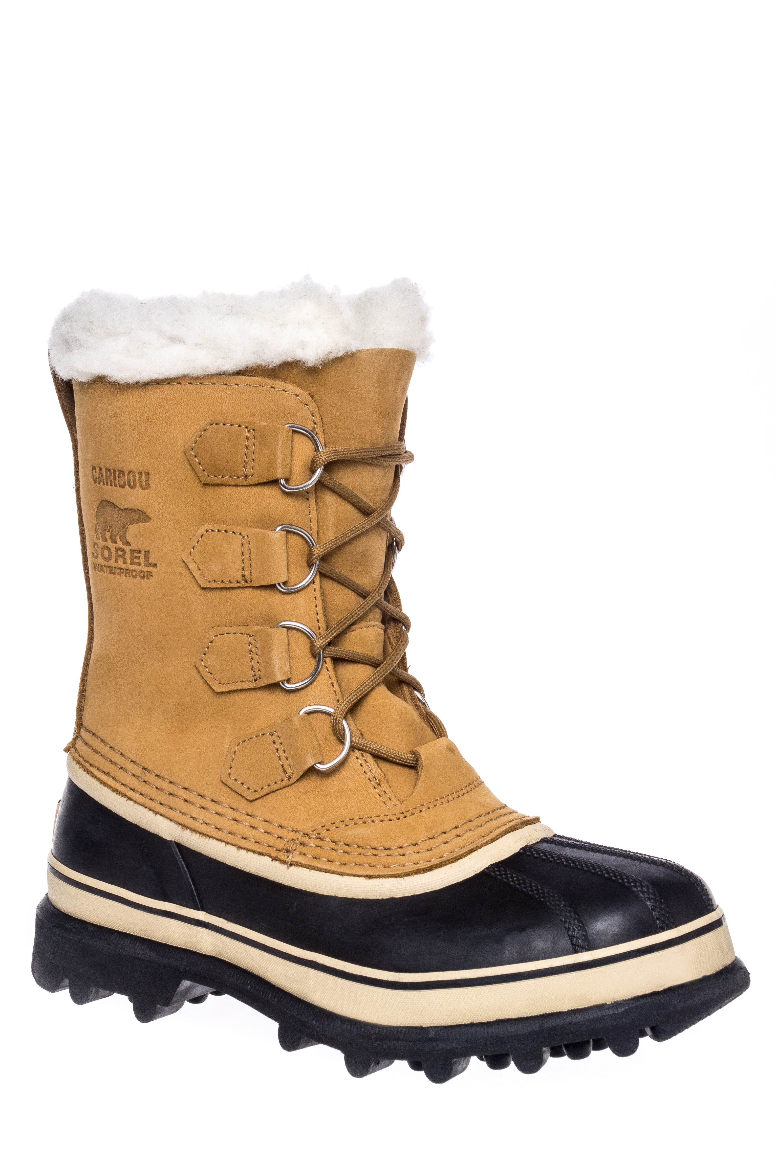 Sorel Caribou Lace-Up Waterproof Mid Calf Boots - Buff