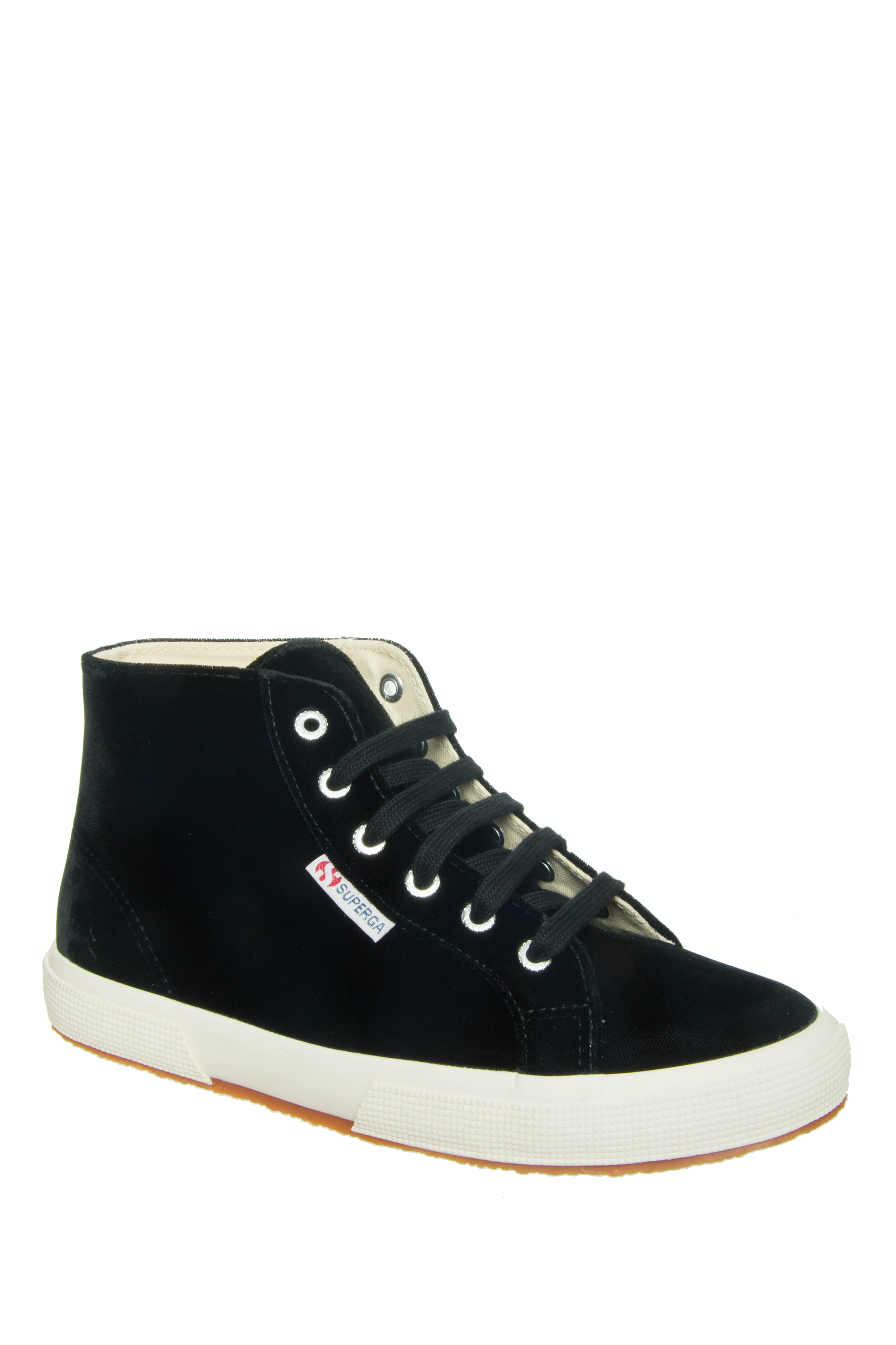 Superga Velvet Hi Top Sneakers - Black