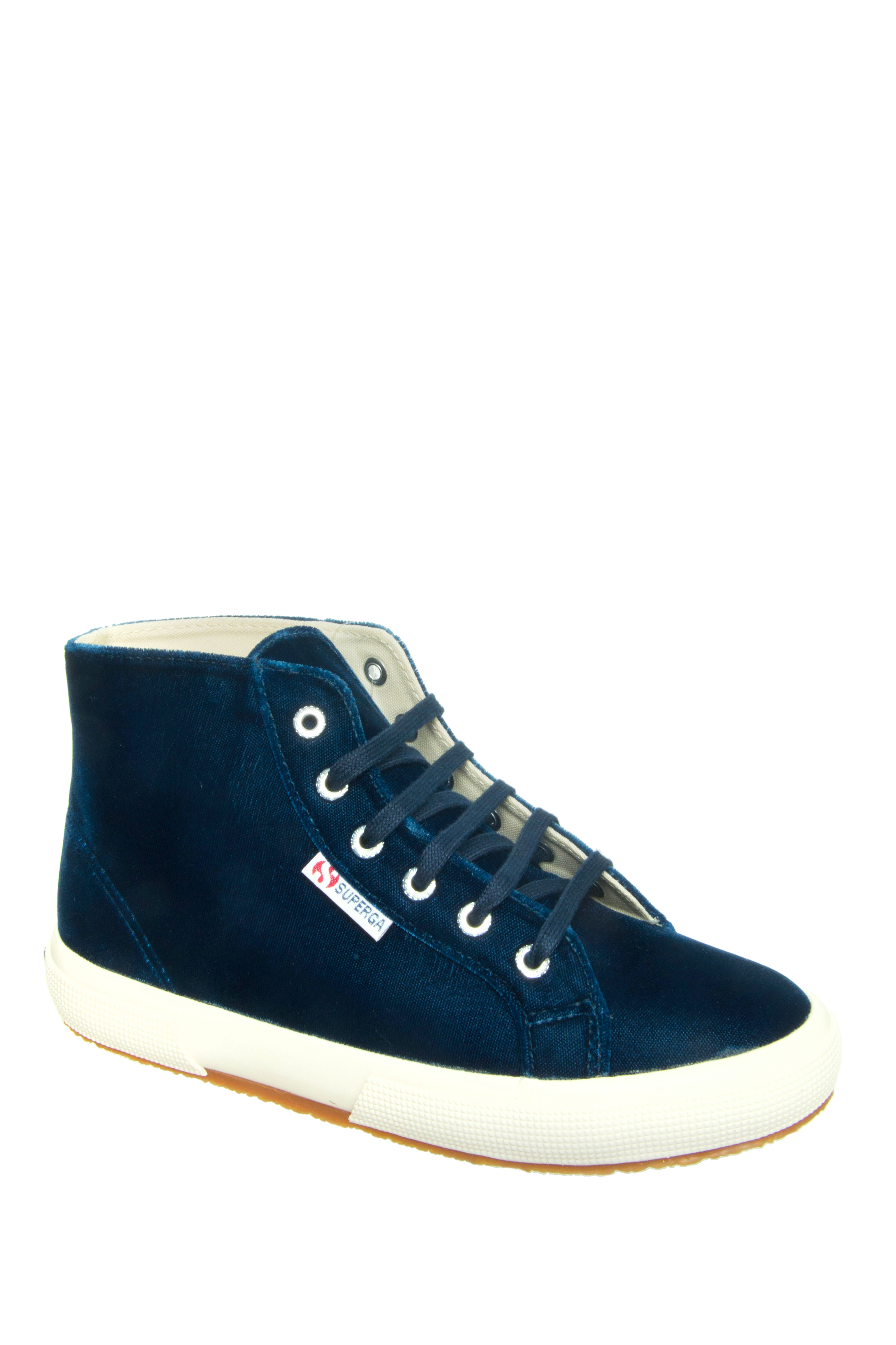 Superga Velvet Hi Top Sneakers - Blue