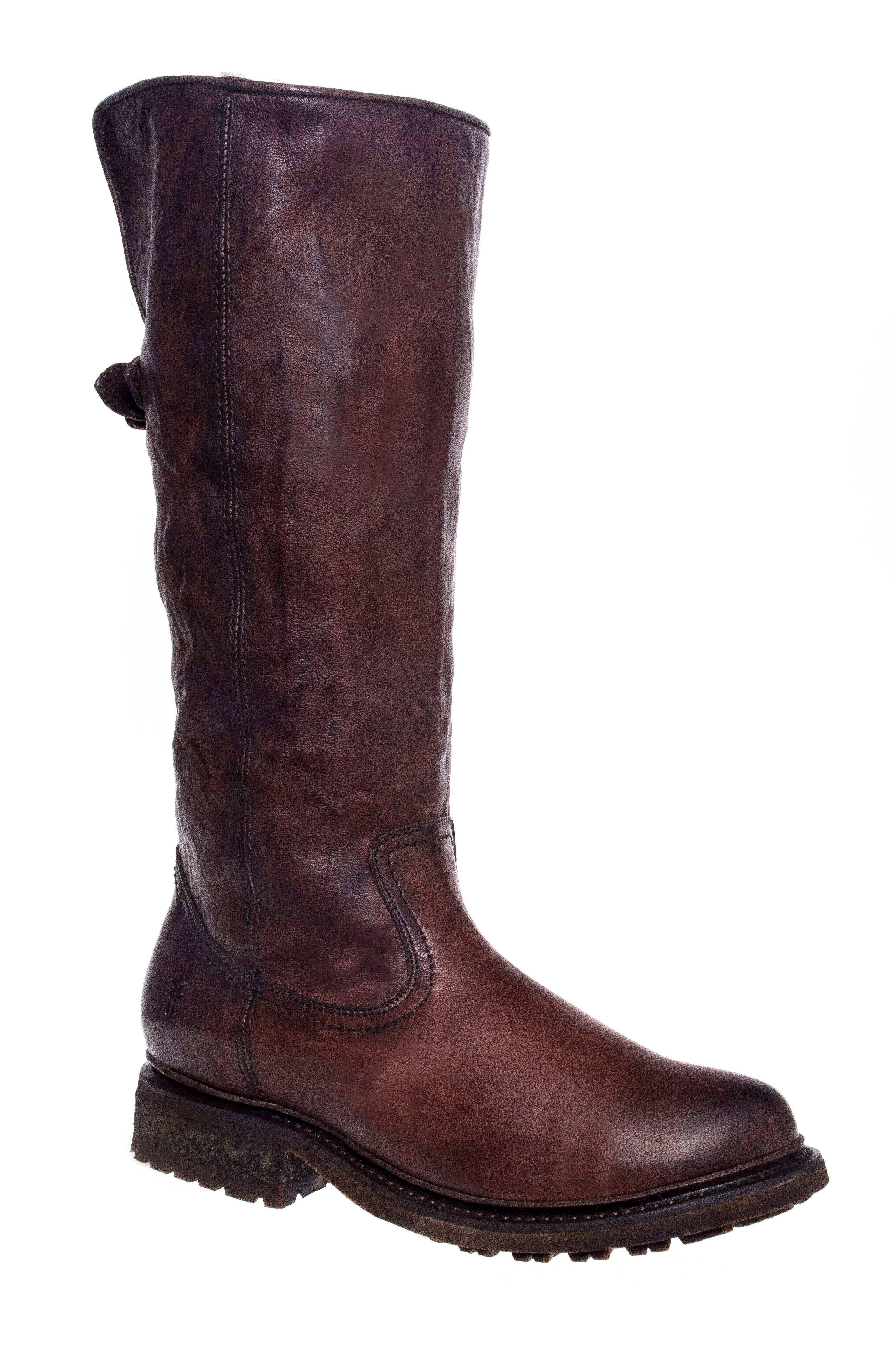 Frye Valerie Shearling Low Heel Boots - Dark Brown