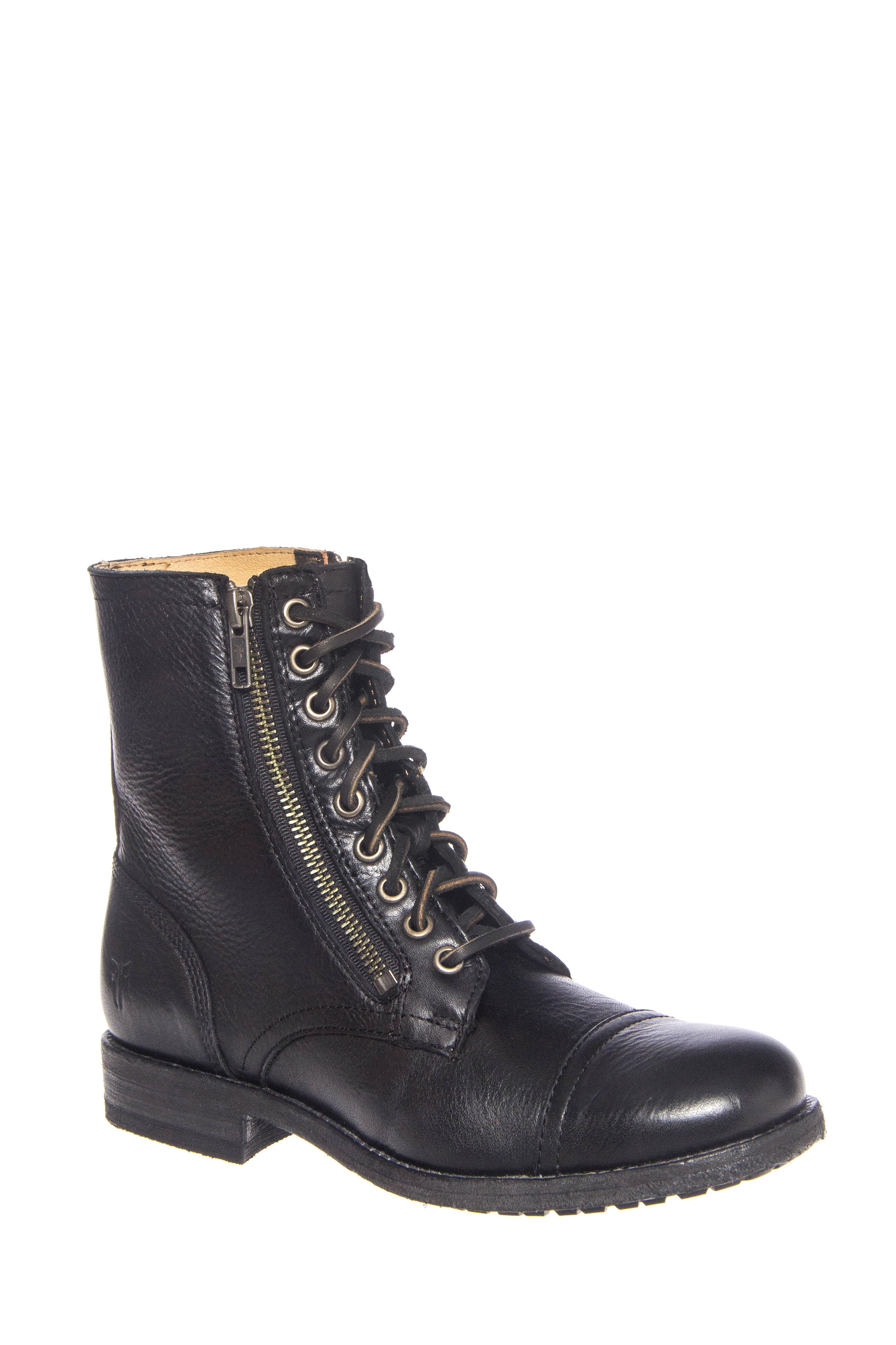 Frye Tyler Double Zip Low Heel Boots - Black