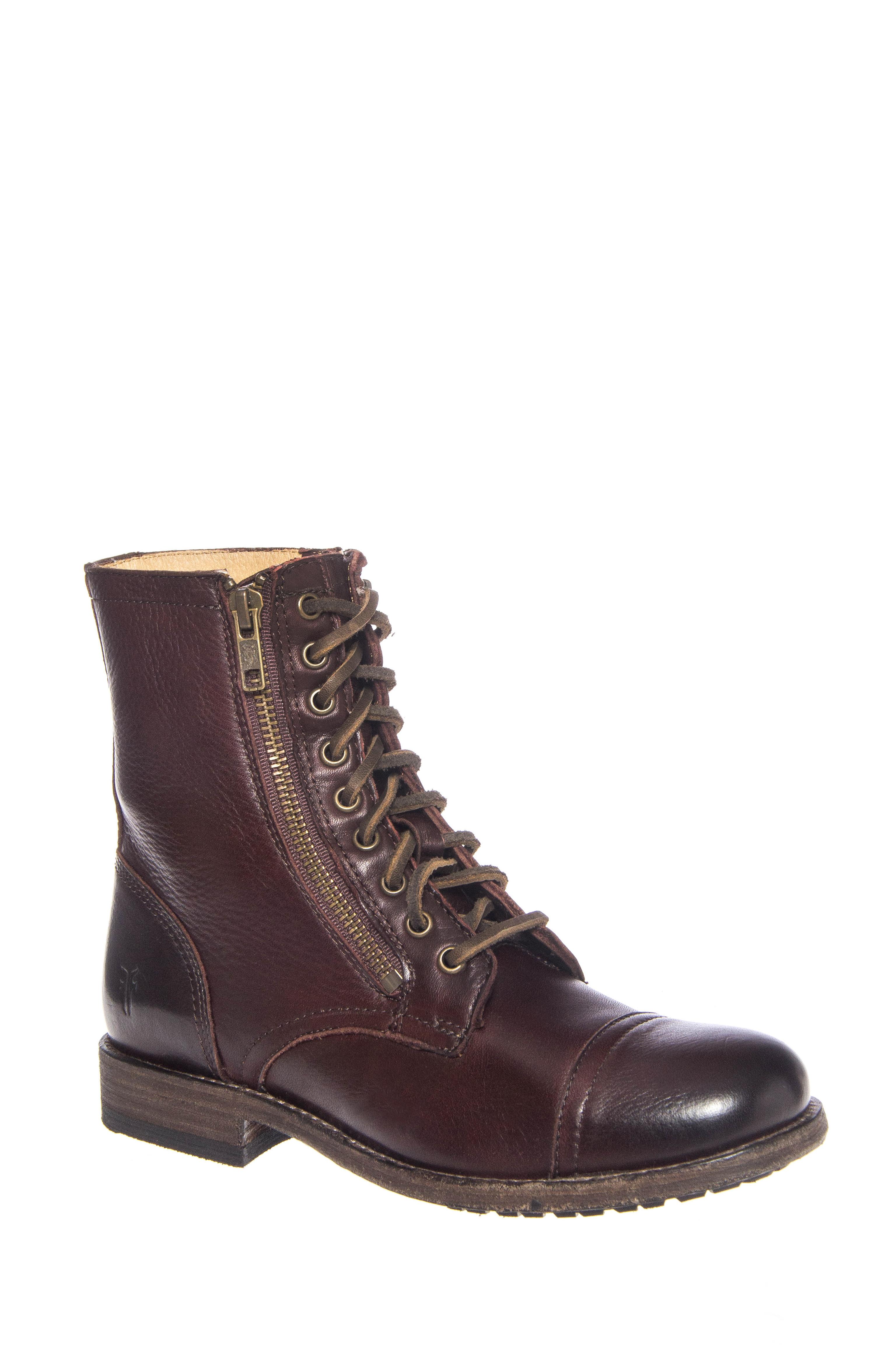Frye Tyler Double Zip Low Heel Boots - Dark Brown