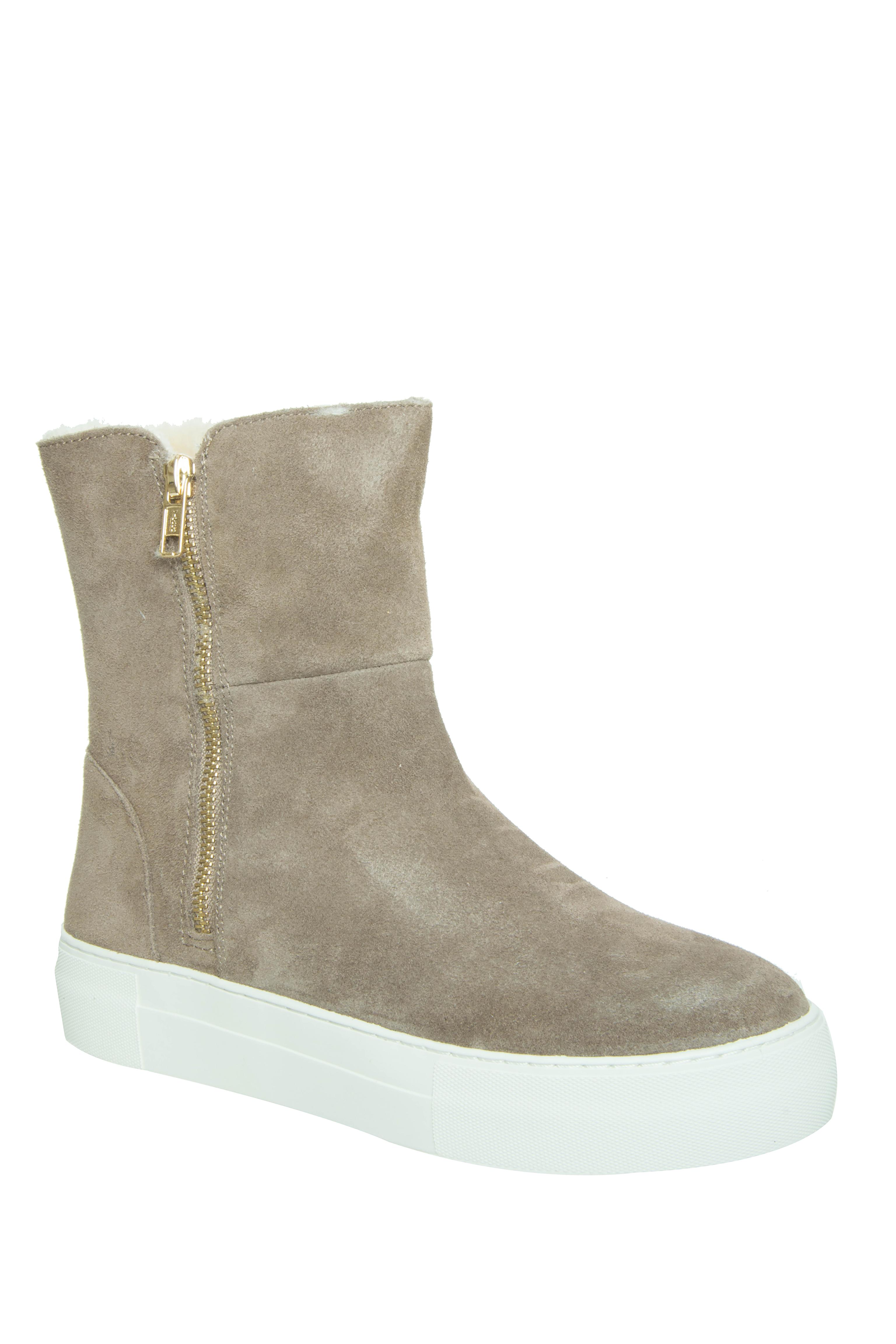 J Slides Allie Platform Boots - Taupe Suede