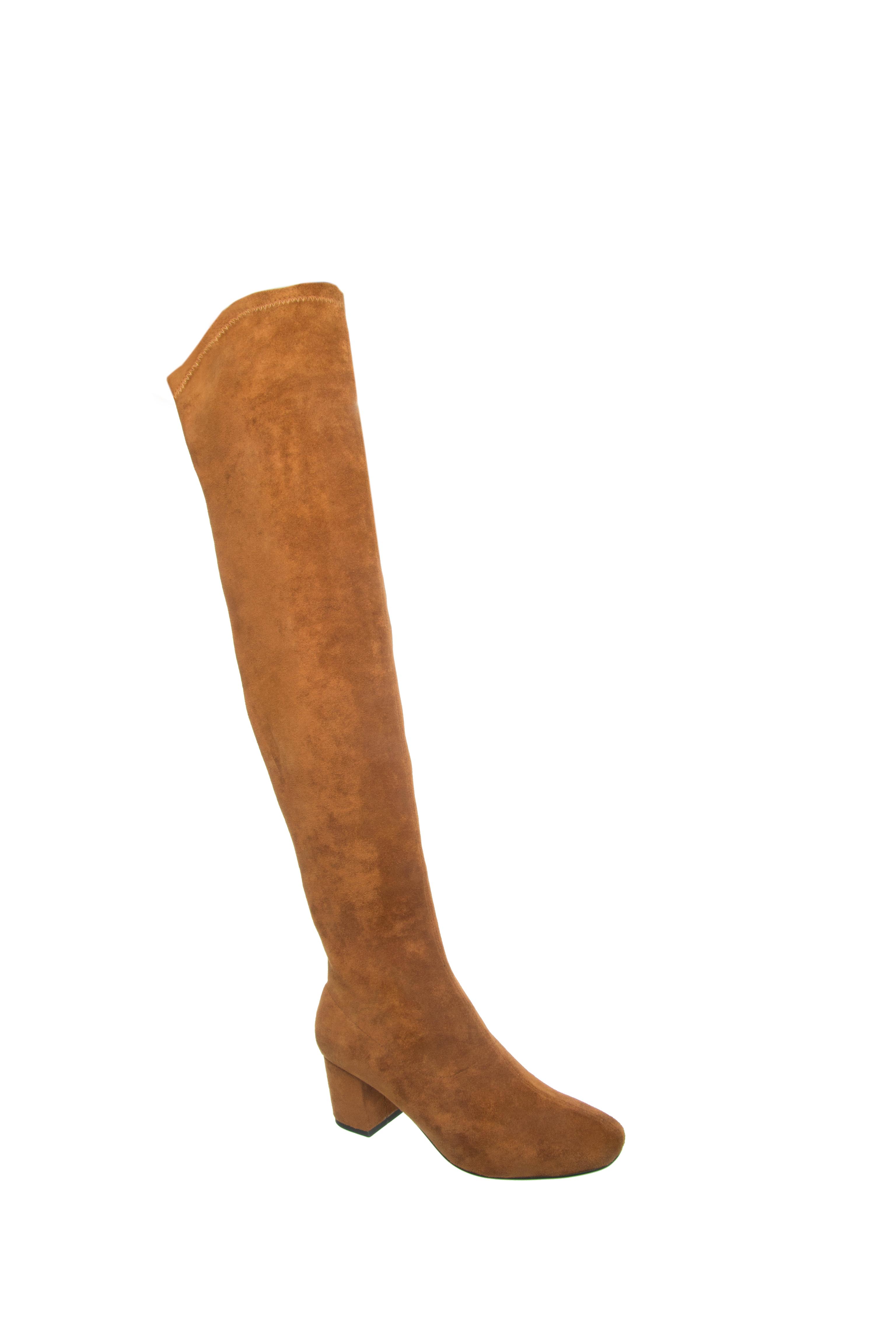 Silent D Cesto Knee High Mid Heel Boots - Tan Suede