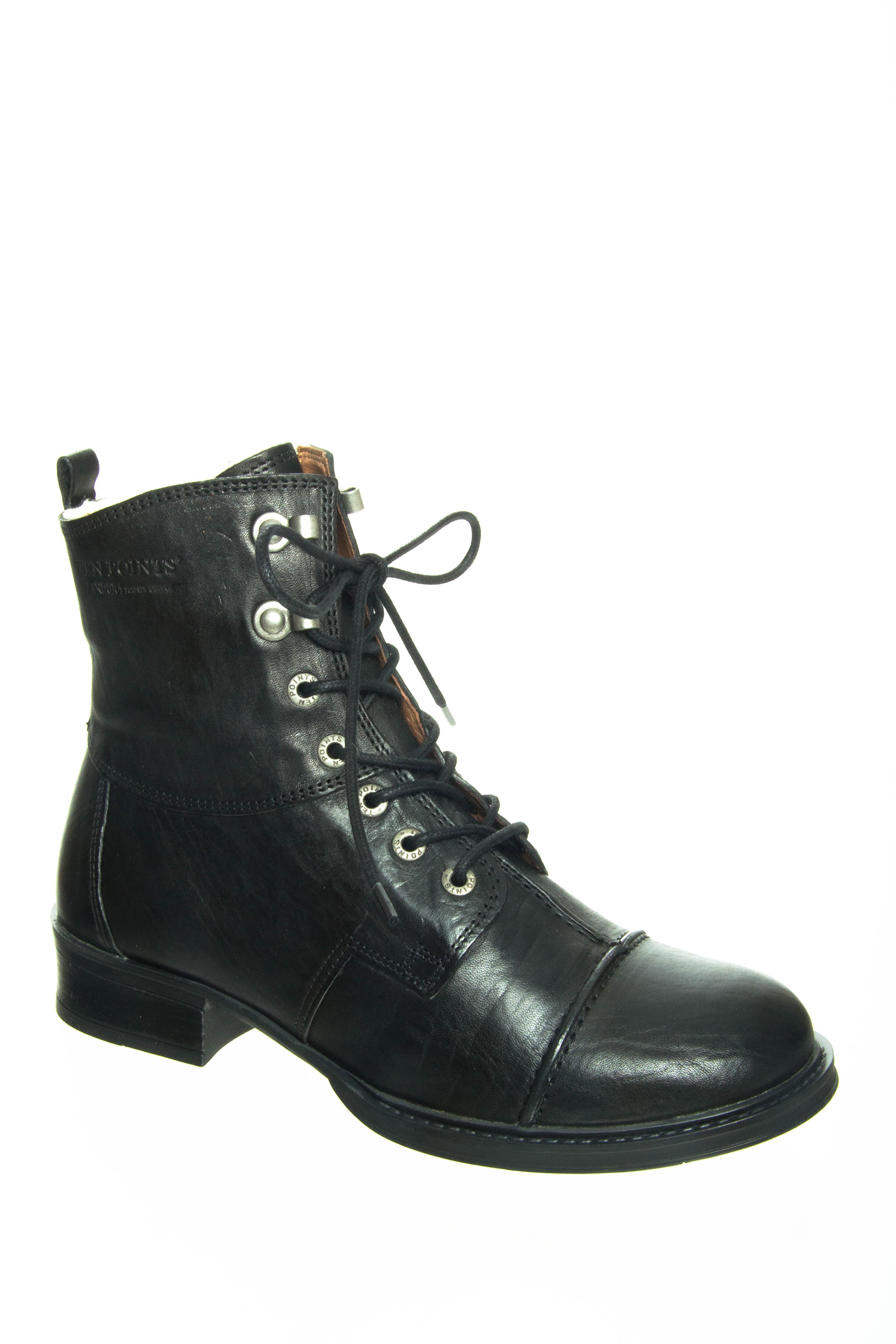Ten Points Pandora Lined Low Heel Boots - Black
