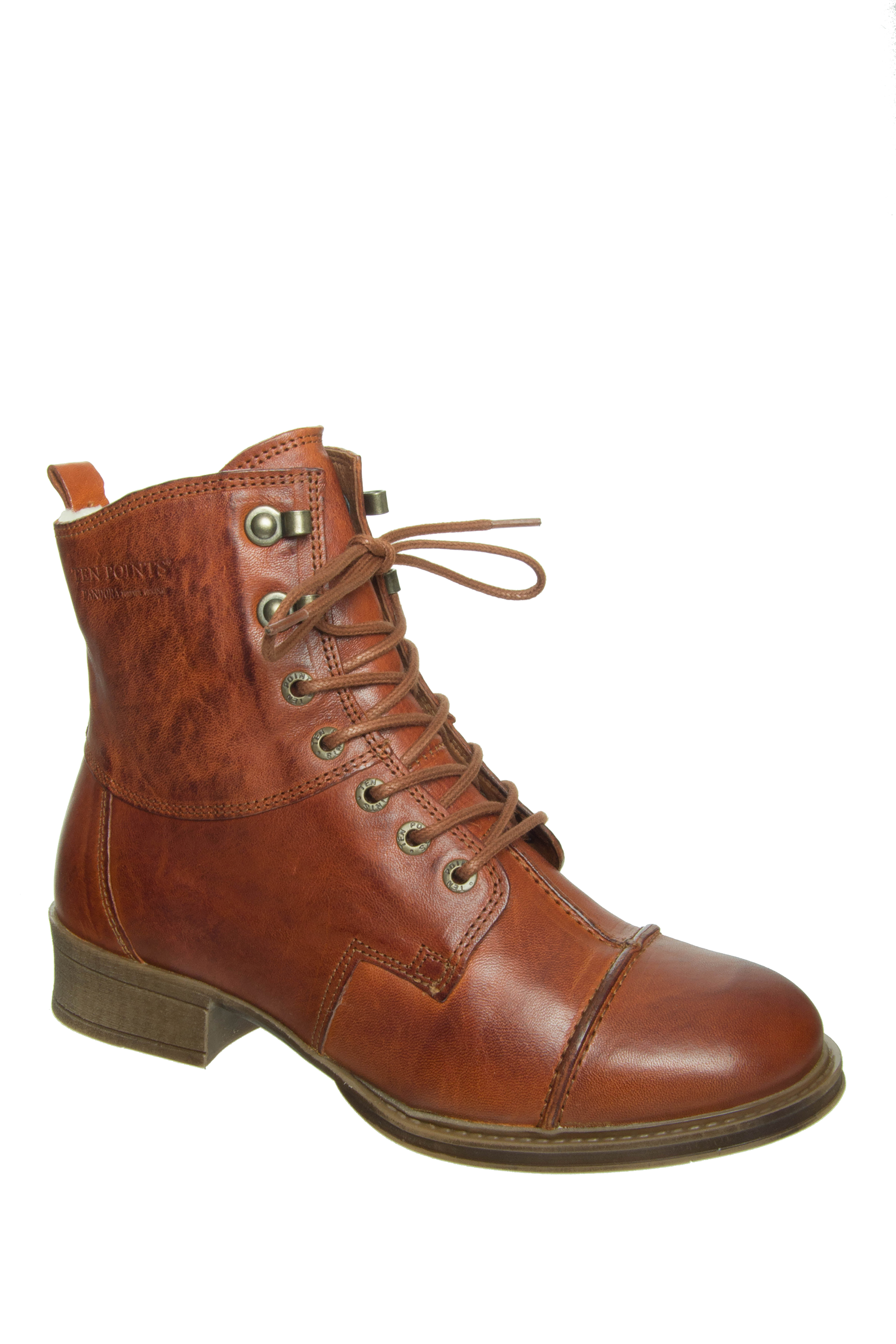 Ten Points Pandora Lined Low Heel Boots - Brandy