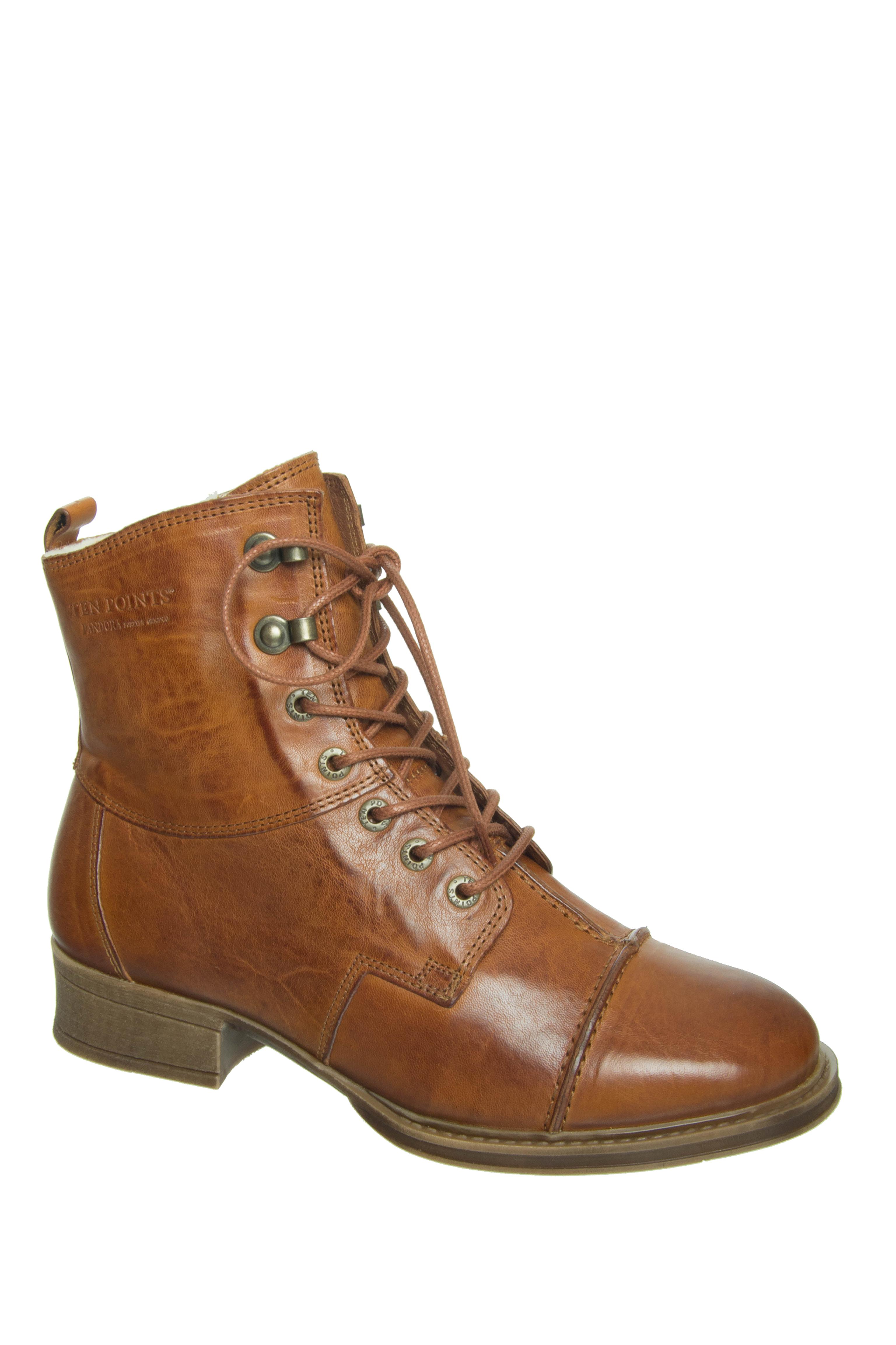 Ten Points Pandora Lined Low Heel Boots - Cognac