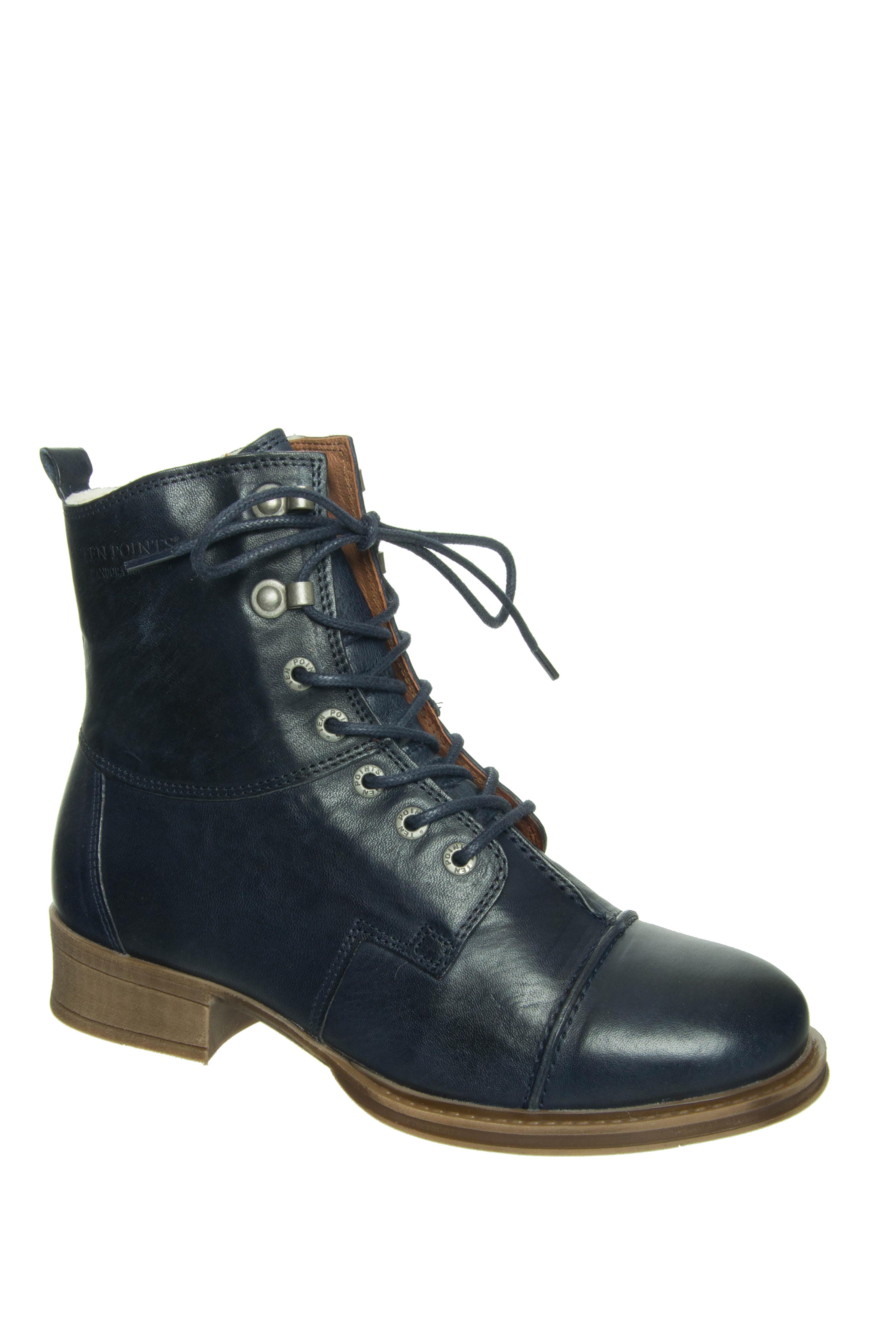 Ten Points Pandora Lined Low Heel Boots - Dark Blue