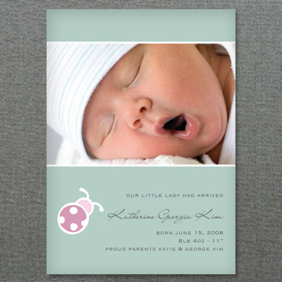 Baby girl birth announcement template with lady bug for Online baby announcement templates