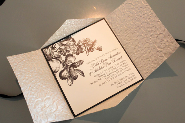 Flower Garden Embossed Pochette Wedding Invitation