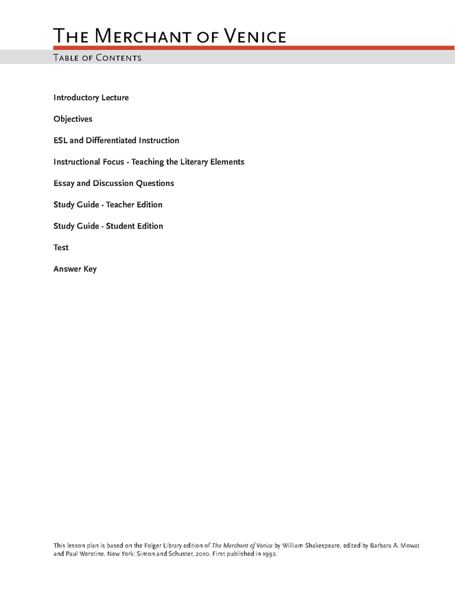 the merchant of venice lesson plan literature  the merchant of venice lesson plan