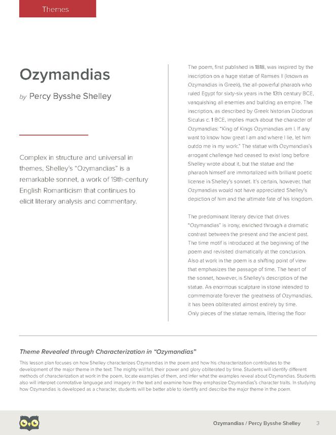 ozymandias notes 2018-6-12 ozymandias summary   on the pedestal near the face, the traveler reads an inscription in which the ruler ozymandias tells.