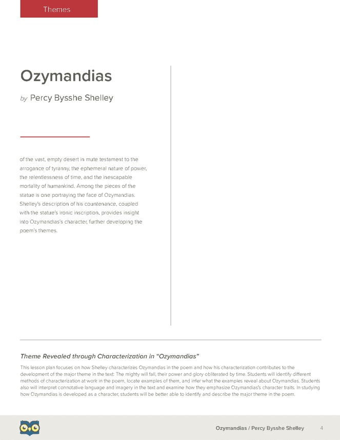 an analysis of the sonnet speakers in shelleys ozymandias 'ozymandias' is one of percy bysshe shelley's best-known and most accessible poems it was written sometime between december 1817 and january 1818, and was probably the result of a sonnet competition between shelley and his friend horace smith, who stayed with the shelleys at their home marlow between 26 and 28.