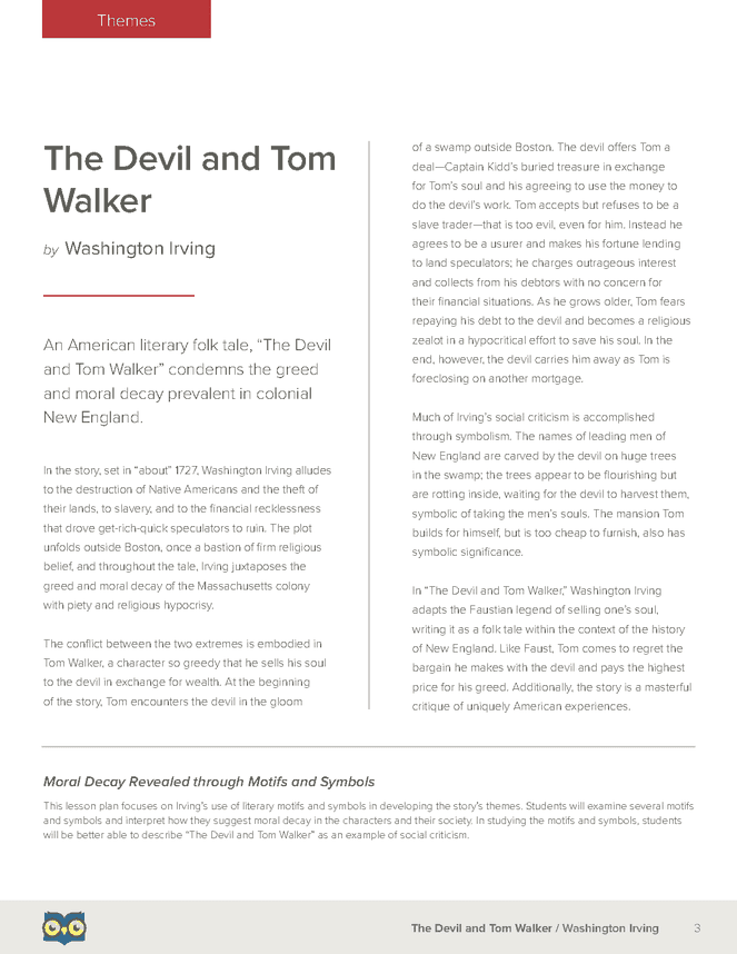 the devil and tom walker owl eyes lesson plan owl language the devil and tom walker owl eyes lesson plan