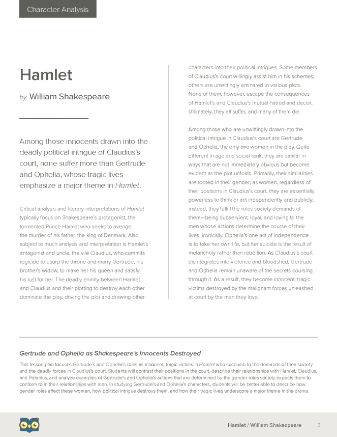 hamlet character study essay Analysis #1 gertrude is a character in the shakespearian play hamletshe is the mother/aunt of hamlet, and she is also the wife/ex-sister-in-law of king claudius.