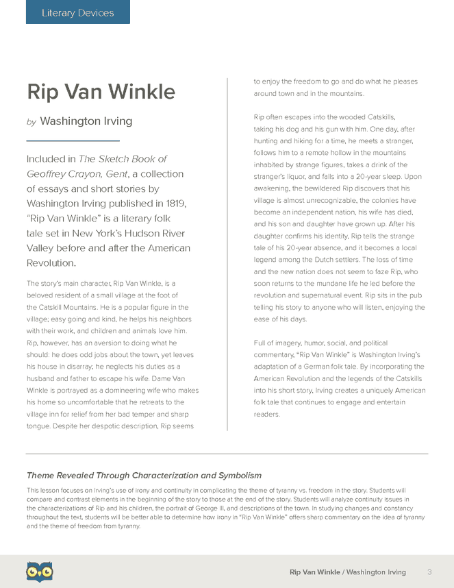 rip van winkle literary devices owl eyes lesson plan  rip van winkle literary devices owl eyes lesson plan