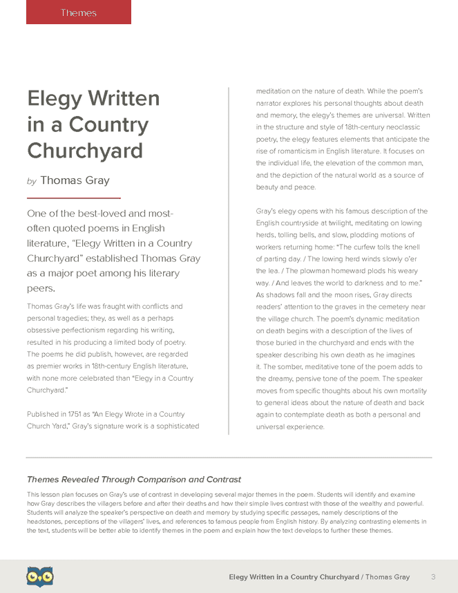 an analysis of the themes of the gutenberg elegies Unlike most editing & proofreading services, we edit for everything: grammar, spelling, punctuation, idea flow, sentence structure, & more get started now.