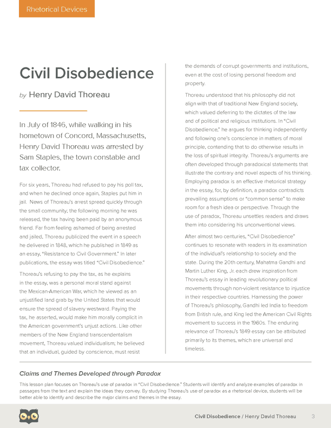 civil disobedience owl eyes lesson plan owl eyes literature  civil disobedience owl eyes lesson plan